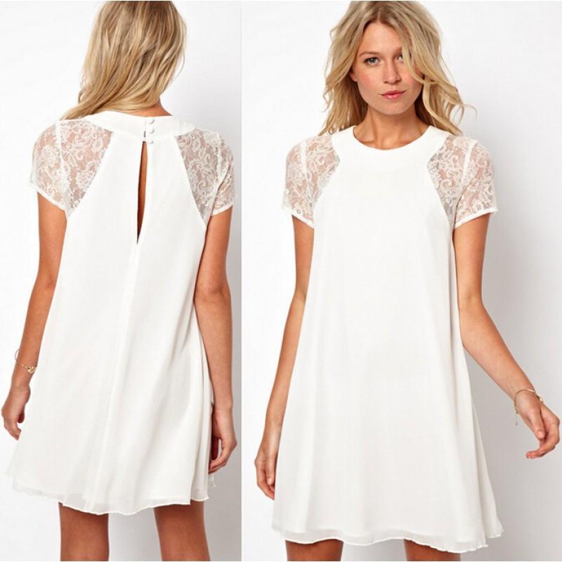 2017 New Summer Womens Dress Ladies Short Sleeve Lace White Black