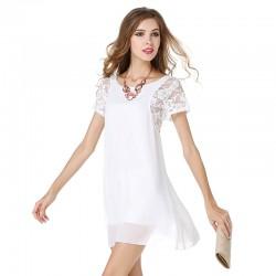 2017 New Summer Women's Dress Ladies' Short Sleeve Lace White Black chiffon Underskirt Sexy Lace Dress Plus size XXL vestidos