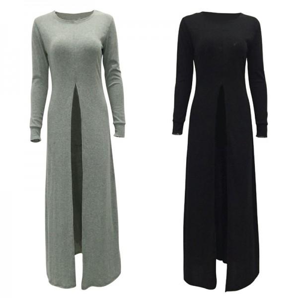 2017 New Women Long Dress Fashion Sexy High Slit Long Sleeved Dress