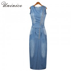 2017 New arrival women summer style fashion denim dress lady sleeveless jeans casual vintage sexy party dresses vestidos 4E1740