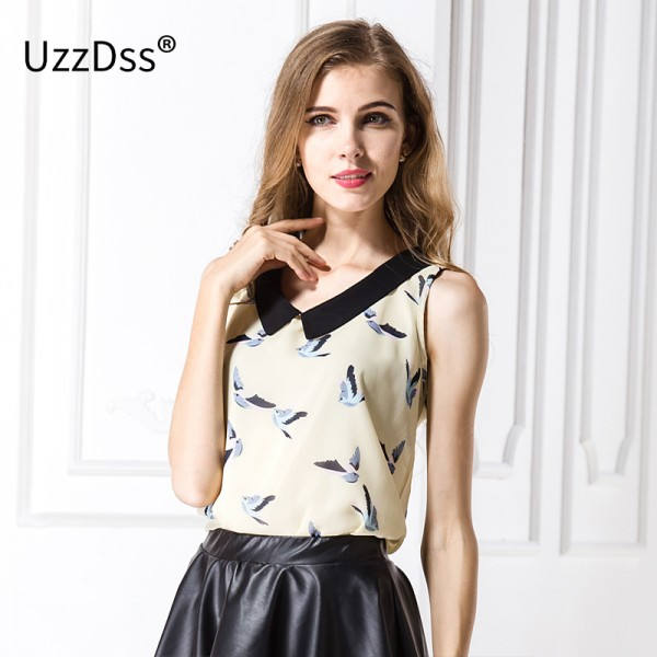 2017 New fashion womens' birds print Chiffon blouse sleeveless shirt vintage elegant casual slim brand designer tops