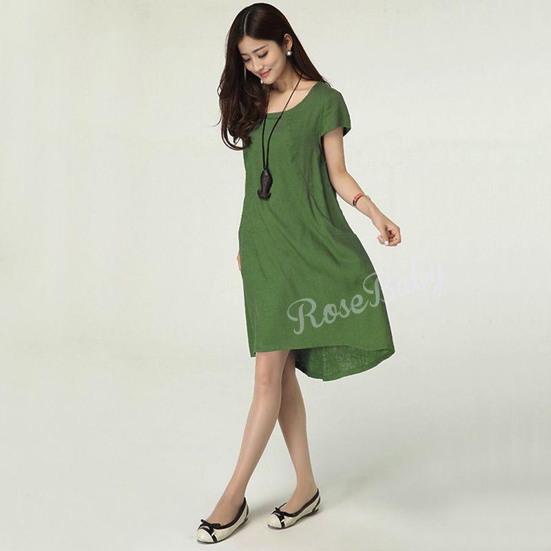 2017 New Summer Dress Loose Plus Size Vintage Style Cotton Linen