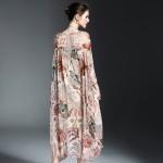 2017 Newest Bohemian Style Printing Women Spring Loose Silk L Dress Fashion Slash Neck Vertical Fold Patchwork Female Dress