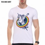 2017 Newest Galaxy Space Printed Creative T shirt Unicorn Men's T shirt Summer Novelty Feminina Psychedelic Tee Clothes pa383