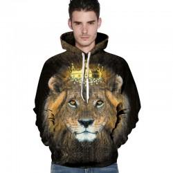 2017 Novelty men's hoodies 3D print lion crown animal sweatshirt couples casual harajuku hoodie cool pullovers