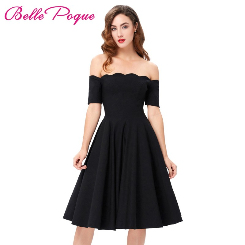 fdbfc44d9772a 2017 Off The Shoulder Black Women Dress 50s Casual Big Swing Vintage Short  Sleeve Summer Party Vestidos Robes Rockabilly Dresses