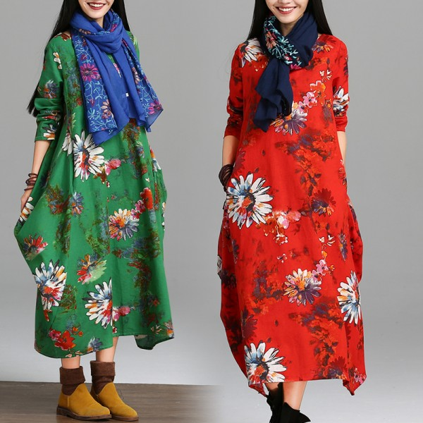 2017 Spring And Autumn Female National Trend Plus Size Clothing Fluid Print Long-sleeve Dress Comfortable Fashion Loose Dress