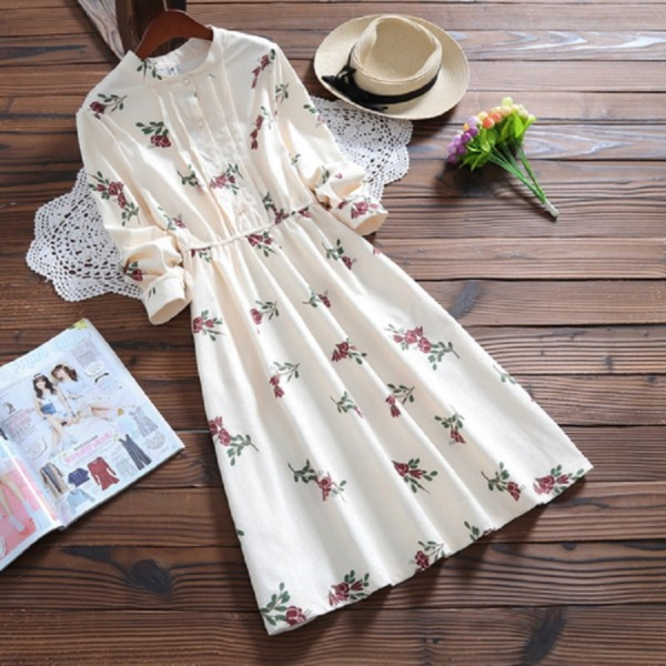 2017 Spring Autumn Women Printed Casual Dress Cute Corduroy Long Sleeve Femininos Vestidos Round Neck Loose Elegant Dress S-2XL