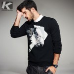 2017 Spring Mens Fashion Sweatshirts Print Black Color Brand Clothing For Man's Slim Fit Pullover Clothes Male Wear Tracksuits
