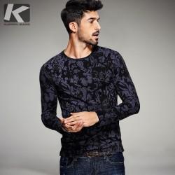 2017 Spring Mens Fashion T Shirts Black Flower Print Brand Clothing Man's Long Sleeve Slim T-Shirts Clothes Male Wear Tops Tees
