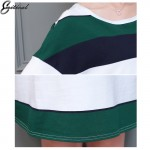 2017 Spring New Arrival Fashion Women Dress Flare Sleeve Green Stripe Ladies Dress Casual Loose Style XL- 5XL Plus Size Clothing
