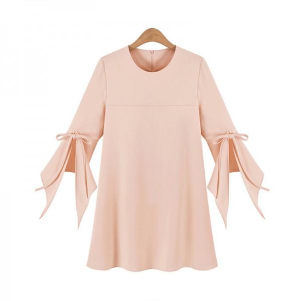 2017 Spring New Style Large Yards Women's Clothing Round Neck Flare Sleeve Dresses Slim Chiffon A-Line Dress Plus Size Sexy