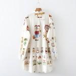 2017 Spring New Woman Shirt Loose Turn-down Collar Long Sleeve Cartoon Printing Cotton Casual Blouse Japanese Mori Girl Shirt