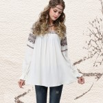 2017 Spring New Yuzi Vintage Ethnic Loose Cotton Women Blouse A-Line Long Butterfly Sleeve Woman Blouses B9516 blusas femininas