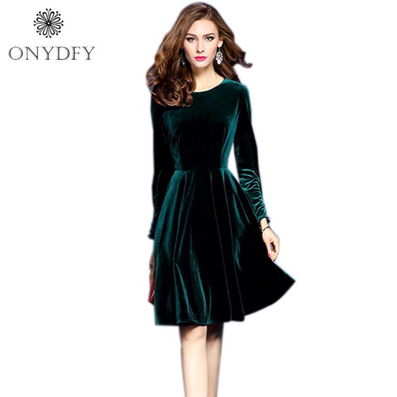 2017 Spring Plus Size Velvet Dress For Women Evening Party Dresses