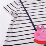 2017 Spring Summer Cartoon Pink Pig Baby Girl Dress Long Sleeve Striped Kids Dresses Cotton Children Clothing 1028
