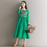 2017 Spring Summer Dress Women Vintage Embroidered Flower Half Sleeved Linen Robe Dress Vestidos Casual Loose Plus Size Dresses