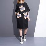 2017 Spring Summer Fashion New Black Bear Printing O Neck Dress Korean Loose Pocket Dresses Big Size Woman T38601