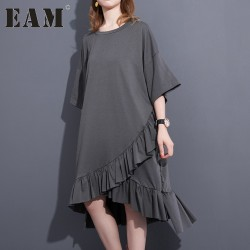 2017 Spring Summer Fashion New Black Grey Solid Color O Neck Dress Loose Cascading Ruffles Dresses Big Size Woman T37201