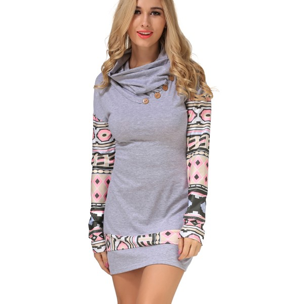 2017 Spring Summer New Arrival Sexy Fashion Hot Sale Women dress Natural Simple O-Neck Long sleeves Robe Bodycon Print Dress
