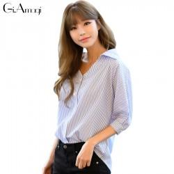 2017 Spring Summer New Korean Straight Loose Thin Sleeves Striped Shirt V-neck Tops Women Fall Blouse Shirt Casual Blusas
