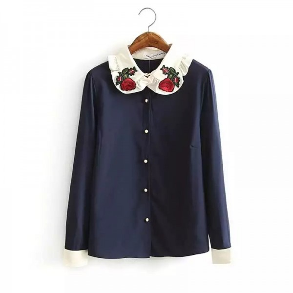 2017 Spring Women Floral Embroidery Blouse Vintage Red Rose Collar Long Sleeve Navy Blue Shirts Blusa Feminina Casual Tops 2727
