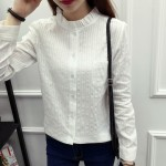 2017 Spring summer new arrival white color women blouse long sleeved cotton slim casual pure shirt top 357F 25