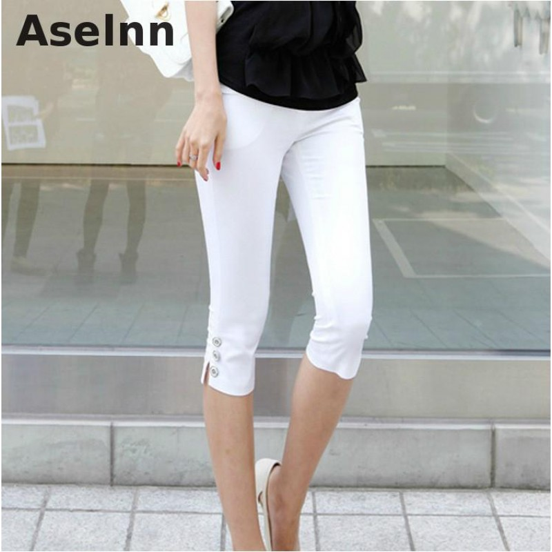 a21b74ccced 2017 Summer New Fahison Capris Casual Calf-length Pants Female Plus Size  S-3xl White Black Women Pants