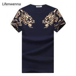 2017 Summer New High-End Men's Brand T-Shirt Fashion Slim Gold Dragon Printing T Shirt Plus Size Short-Sleeved Tee Shirt Men 5XL
