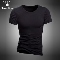 2017 Summer T Shirt Solid Cotton High Quality Slim Casual New Brand Chase Deer White And Black Tracksuit Underwear T-Shirt Men