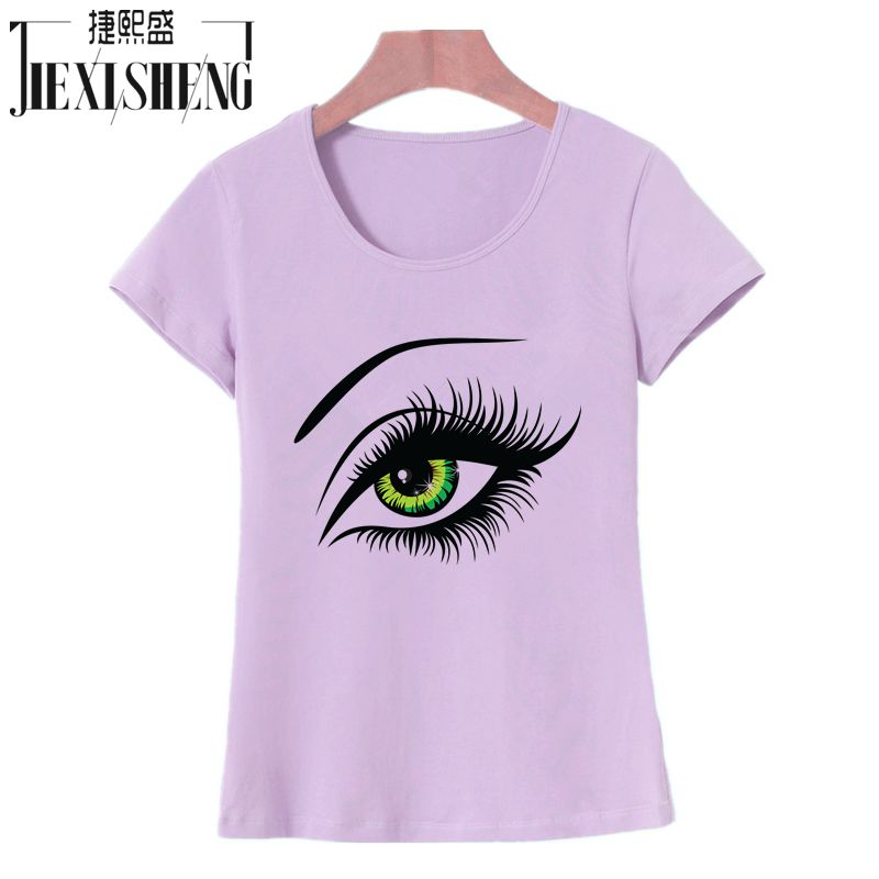 748fe4632fa 2017 Summer T shirt Women Tops Tees Short Sleeve Cotton Big Eyes Print Tshirt  Funny T-shirt Woman Clothes Plus Size