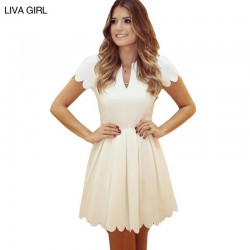 2017 Summer women dress plus size 2XL casual vintage bodycon white dress elegant short sleeves ruffles pleated dresses