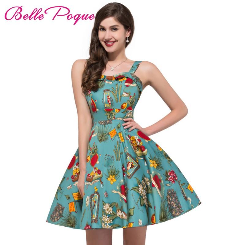 2017 vintage 50s dresses retro swing pin up floral rockabilly dress abendkleider spaghetti strap. Black Bedroom Furniture Sets. Home Design Ideas