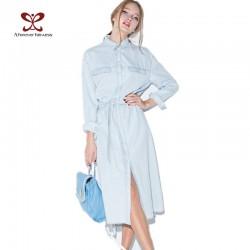 2017 Women Denim Dress Long Sleeve Casual Lapel Single Breasted Jeans Women Dress with Belt Vintage Blue Denim Shirt Dress -1042