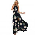 2017 Women Halter Neck Chiffon Dress Floral Print Sleeveless Split Backless Long Dress Elegant Hollow Out Beach Maxi Boho Dress