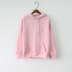 2017 Women Hoodies Sweatshirt Long Sleeve Pink Casual Harajuku Pocket Spring Hoodie For Women Pullover Sudaderas Mujer Plus Size
