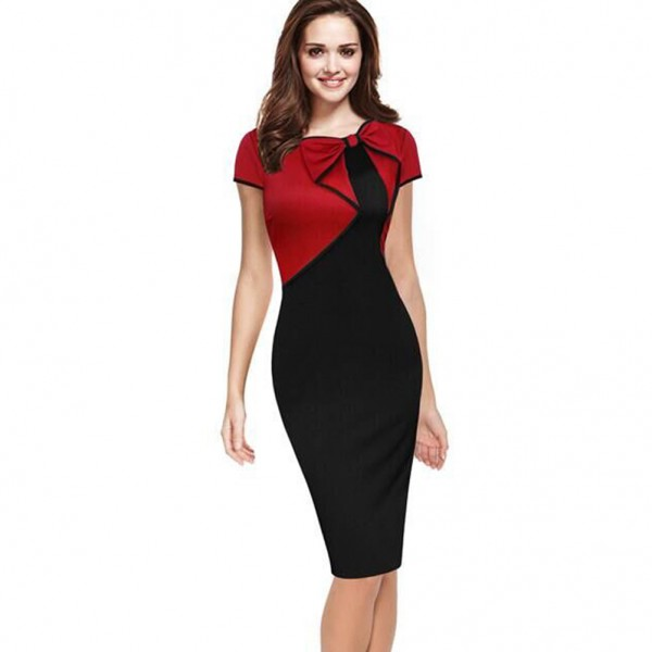 2017 Women Summer Elegant Vintage Asymmetric Bow Pinup Red Blue Patchwork Casual Wear to Work Business Party Pencil Sheath Dress