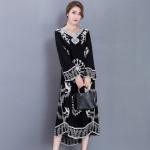 2017 Women's New Embroidery Cotton Big Size Long Dress Loose Dress Retro Black Printing Dress