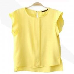 2017 Womens Blouses Chiffon Clothing Summer Lady Blouse/Shirt S-XL New Fashion Ruffle Short Blue/Green/Pink/Yellow Female