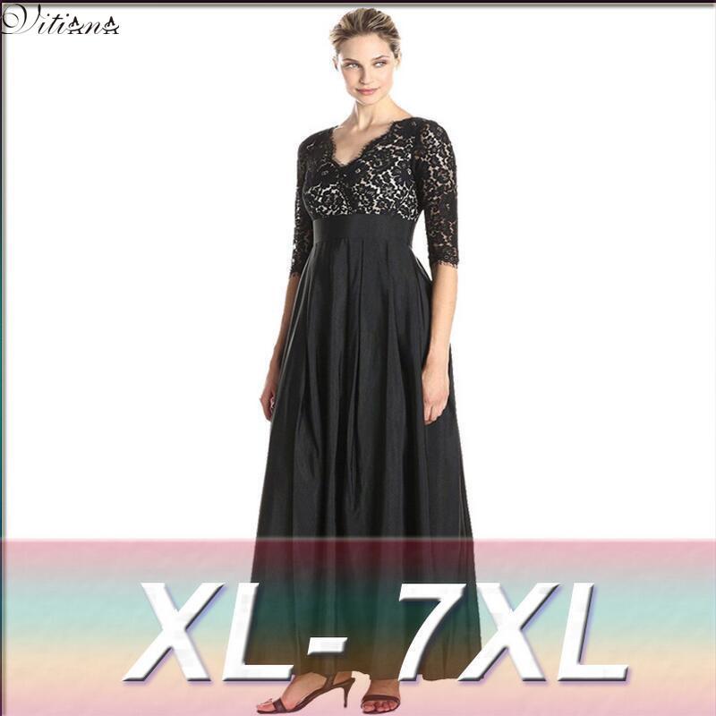 871bbe9339a 2017 Womens Elegant Lace Party Dress Big Sizes Sexy Black Maxi Long Dresses  Plus Size 5XL 6XL 7XL vestidos 6016