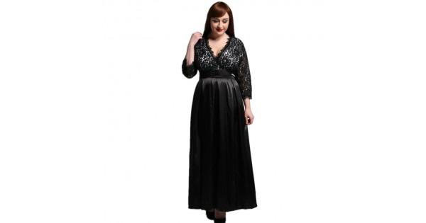 2017 Womens Elegant Lace Party Dress Big Sizes Sexy Black Maxi Long 020b5b528