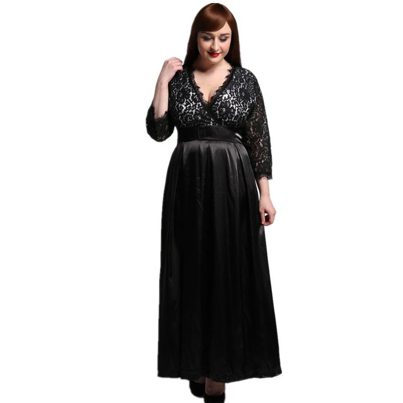 2017 Womens Elegant Lace Party Dress Big Sizes Sexy Black Maxi Long