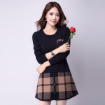 2017 autumn and winter women long-sleeved knit dress A dress Korean version was thin sweater and long sections plaid dress