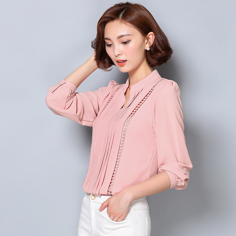 2017 Fashion Korean Style Plus Size Chiffon Women Blouse Office Lady Solid Color Long Sleeve