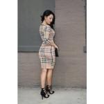 2017 fashion Plaid Print Sheath Dress Elegant Casual O-Neck Three Quarter Sleeve Women Body con Dress Sexy Vestido De Fest