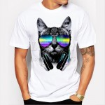 2017 fashion short music DJ cat printed Funny t-shirt men tops