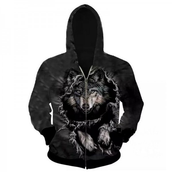 2017 hoodies men hoody sweatshirts fashion 3D wolf hoodies men hooded cloak brand casual hoodie