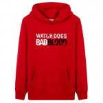 2017 man game player's love printing hoody Watch Dogs Bad Blood fleece man's winter sweatshirts thicker outerwear 1pcs drop ship