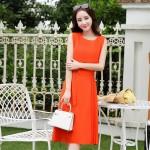 2017 new Women Chiffon Solid colors Summer Pretty Famale elegant Dress Sleeveless Vest  Dress