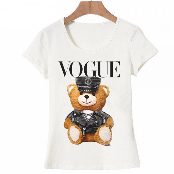 2017 new summer fashion Women's  short sleeve super cute vogue Police bear Teddy T-shirt white tops cool hipster tees